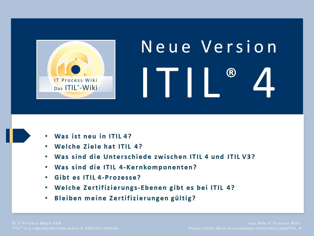 ITIL 4 - Einführung. FAQ zur neuen Edition ITIL 4, veröffentlicht in 2019: Wie ist der Zeitplan für das Update? Was ist der Unterschied zwischen ITIL4 und ITIL V3? Gibt es ITIL V4 Prozesse? Welche Änderungen gibt es im Zertifizierungs-Programm?